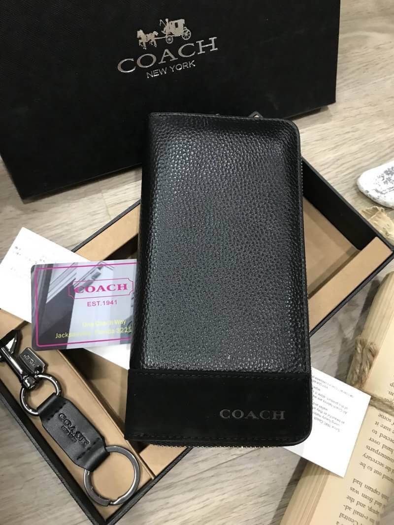 COACH Long Wallet With Leather Key Chain Gift Box *ดำ