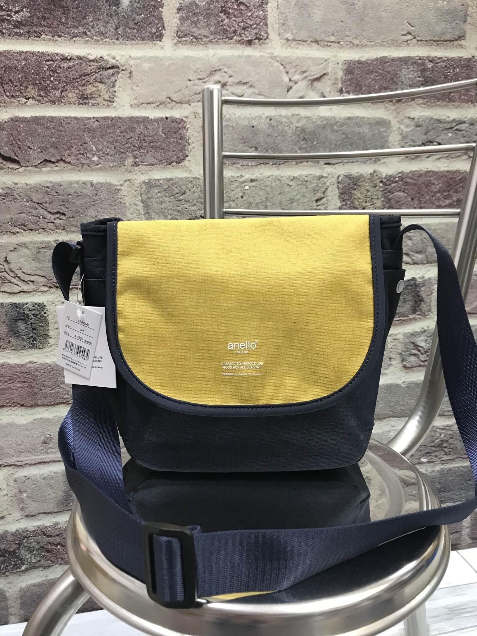 ANELLO MOTTLED FABRIC MINI SHOUDLER BAG WITH FLAP *เหลืองกรม