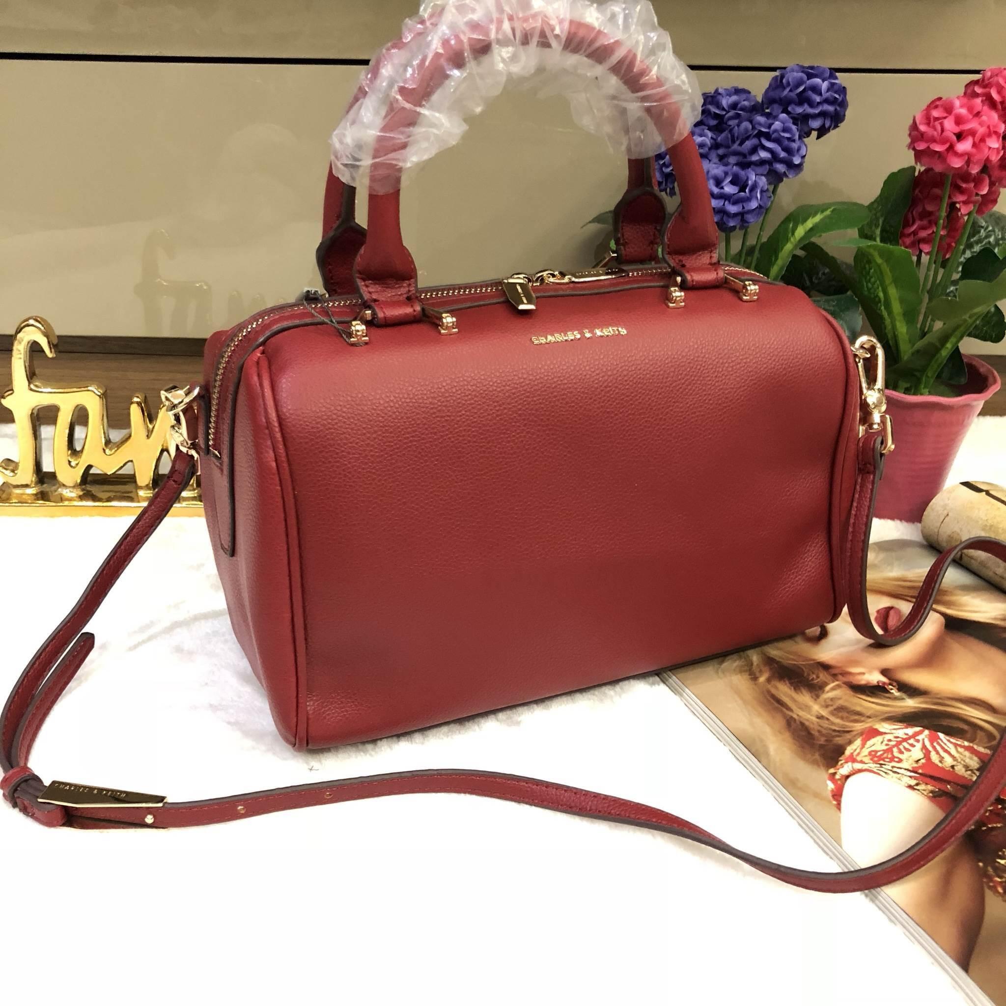 CHARLES & KIETH DOUBLE ZIP BOWLING BAG *แดง