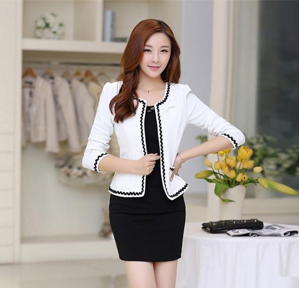เสื้อคลุมแฟชั่นแต่งลายคลื่น ใส่ทำงานสวยเก๋สไตล์เกาหลี สีขาว