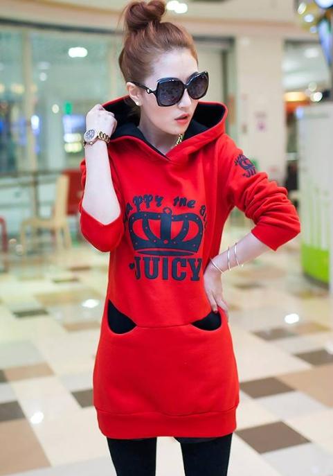 เสื้อกันหนาวมีฮู้ด แขนยาว สกรีนนูนลายมงกุฏ JUICY สีแดง