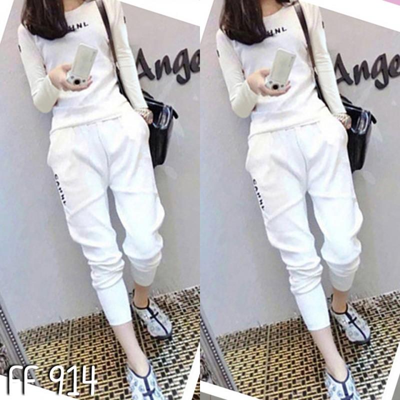 เซ็ตเสื้อแขนยาว+กางเกงขายาว-สีขาว