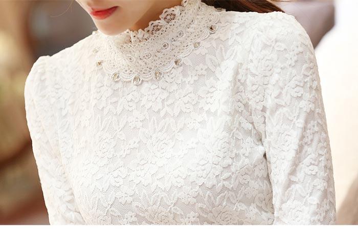เสื้อลูกไม้สวยๆ แฟชั่นเกาหลี มีสีขาว ประดับเพชรคริสตัล ชุดผ้าลายลูกไม้ใส่ออกงาน เสื้อลูกไม้ ส่งฟรี EMS ส่งฟรี EMS แขนยาว คอปิดลูกไม้ มีซับใน แมทซ์ชุดออกงานได้หลายโอกาส ใส่ออกงานแต่ง ใส่ทำงาน ไม่เชย