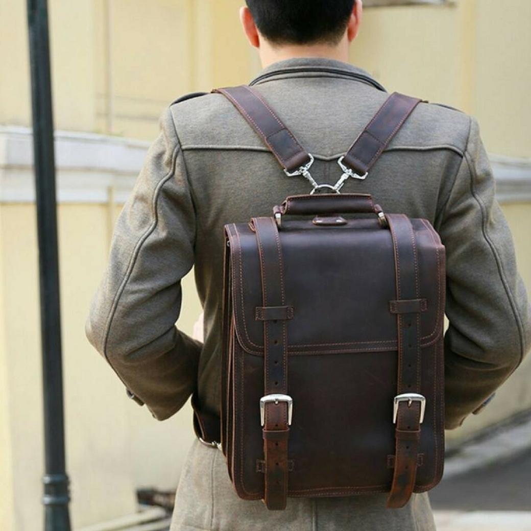 กระเป๋าเป้สะพายหลัง ทรงนักเรียน สวยเท่ห์ๆแบบไม่ซ้ำใคร หนังวัวแท้ หนัง NUBUCK เป็นที่นิยมในประเทศญี่ปุ่น