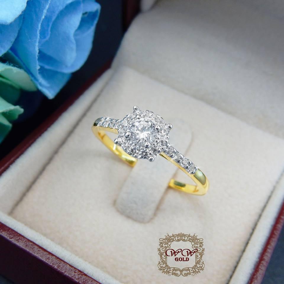 แหวนดีไซน์เพชรล้อมระยิบ (เพชรสวิส cz)