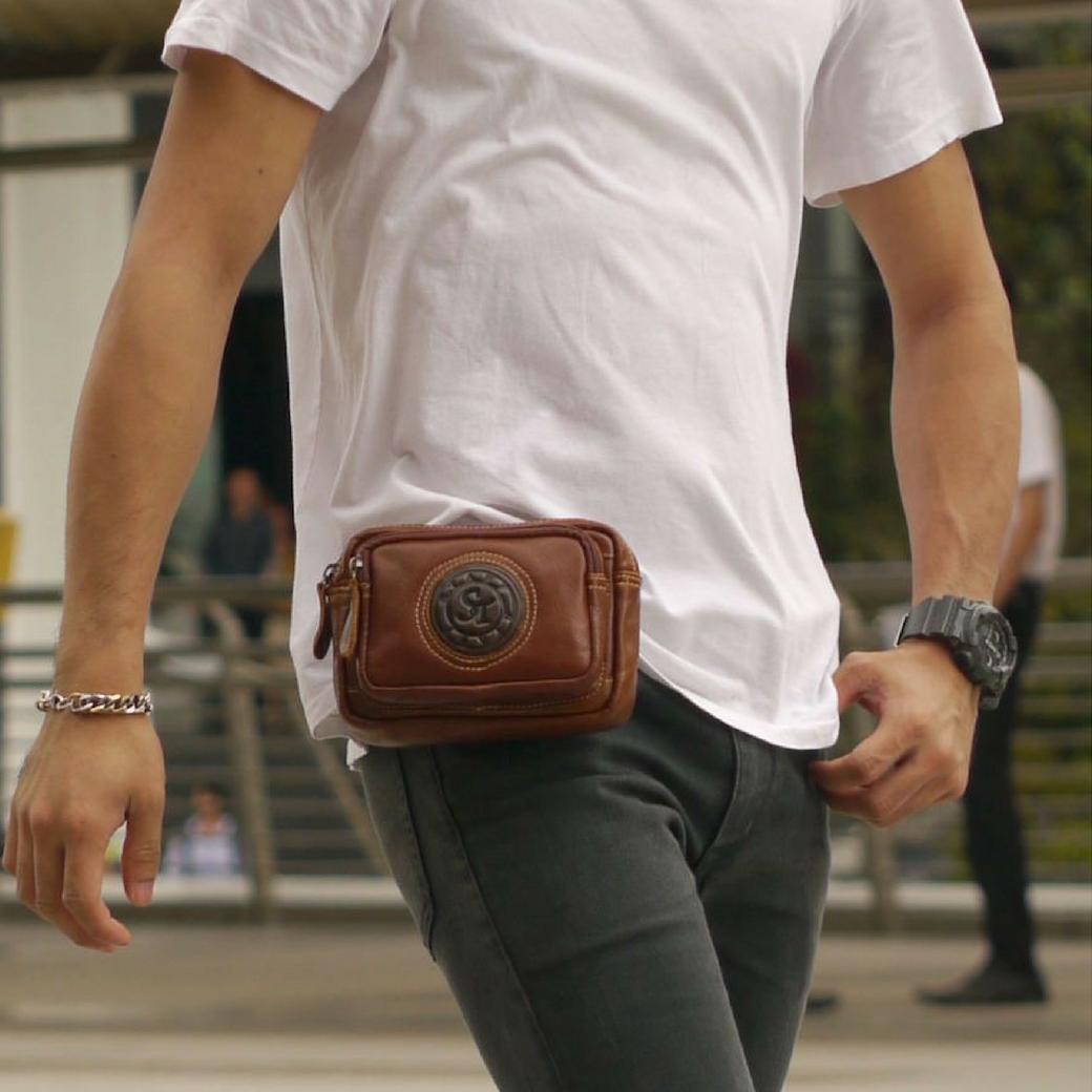 กระเป๋าหนังแท้ร้อยเข็มขัด ผู้ชาย สำหรับใส่ โทรศัพท์ พาร์สปอต และอุปกรณ์ต่างๆ