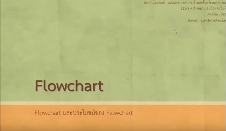 Thunk able online คาบที่ 2 เรื่อง Flowchart และประโยชน์ของ Flowchart ตอนที่ 2/2