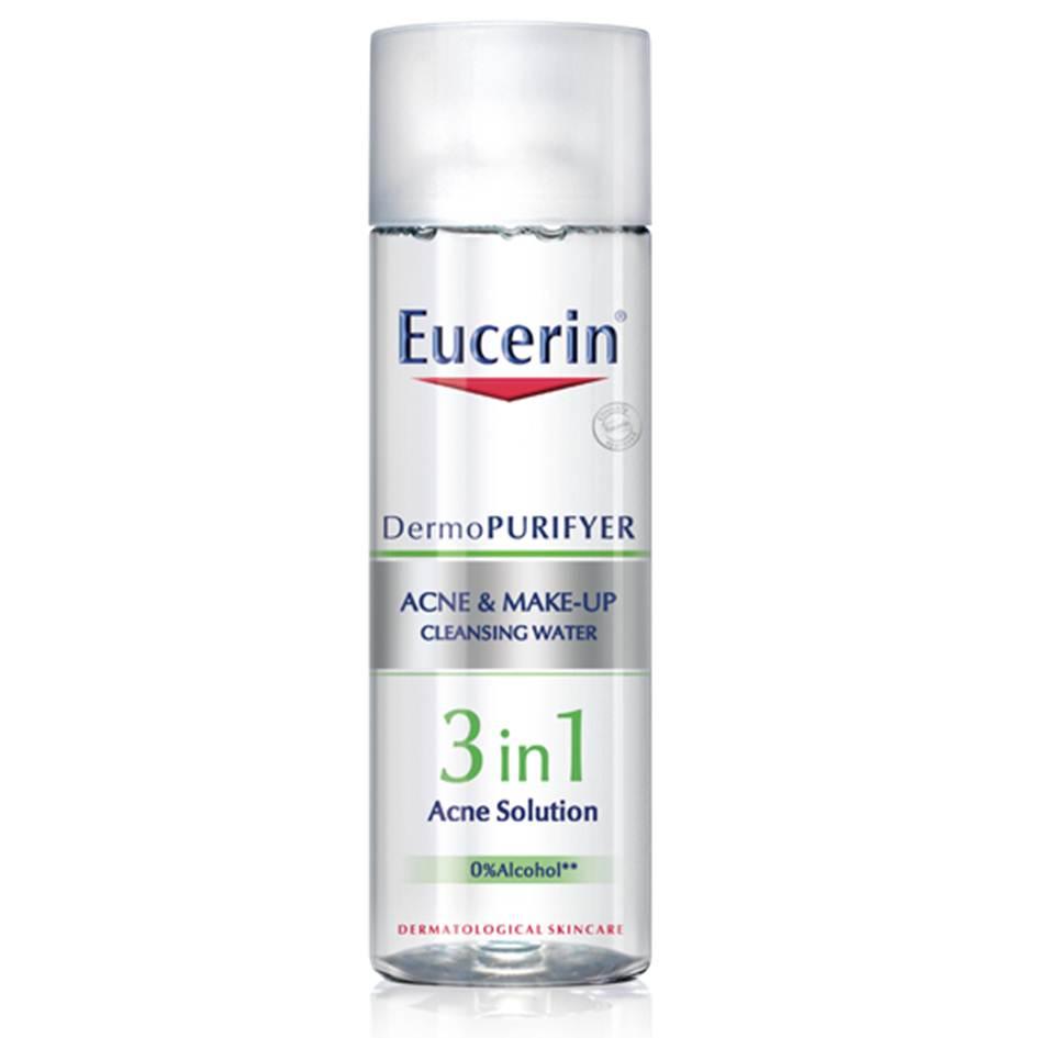 *EUCERIN DermoPURIFYER ACNE & MAKE-UP CLEANSING WATER (200 ml)คลีนซิ่ง วอเตอร์สำหรับผิวมัน แพ้ง่ายและมีปัญหาสิว