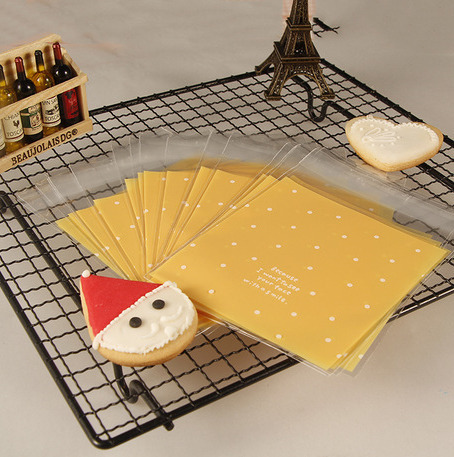 ถุงใส่คุ๊กกี้ ใส่ขนม ขนาด 10X10+3 CM 100 ถุง สีส้ม BAKE081