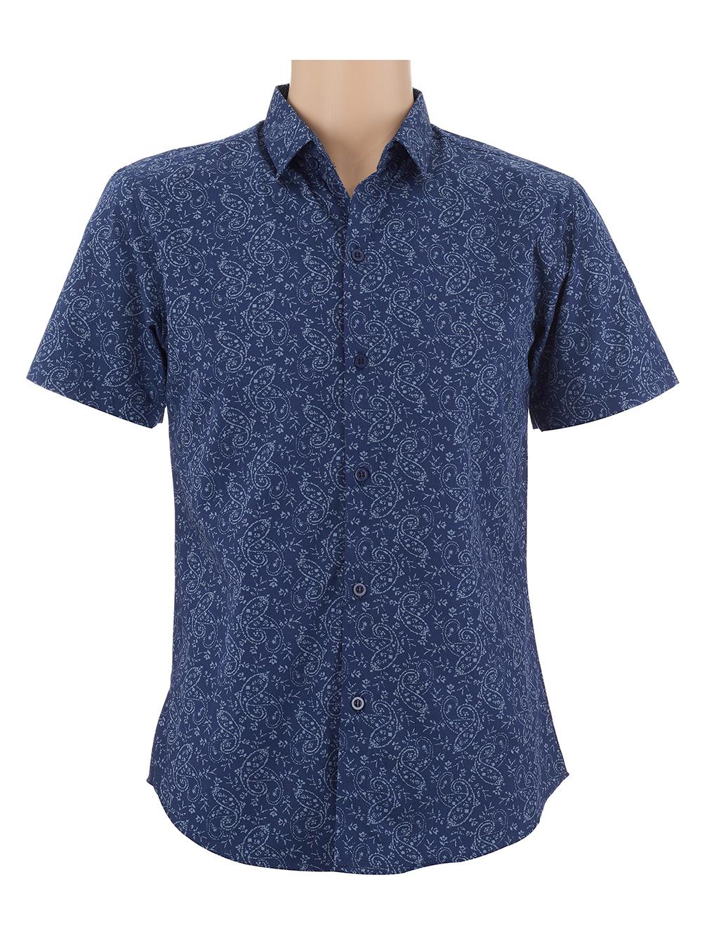 เสื้อเชิ้ตผู้ชายแขนสั้น สีน้ำเงินเข้ม พิมพ์ลาย