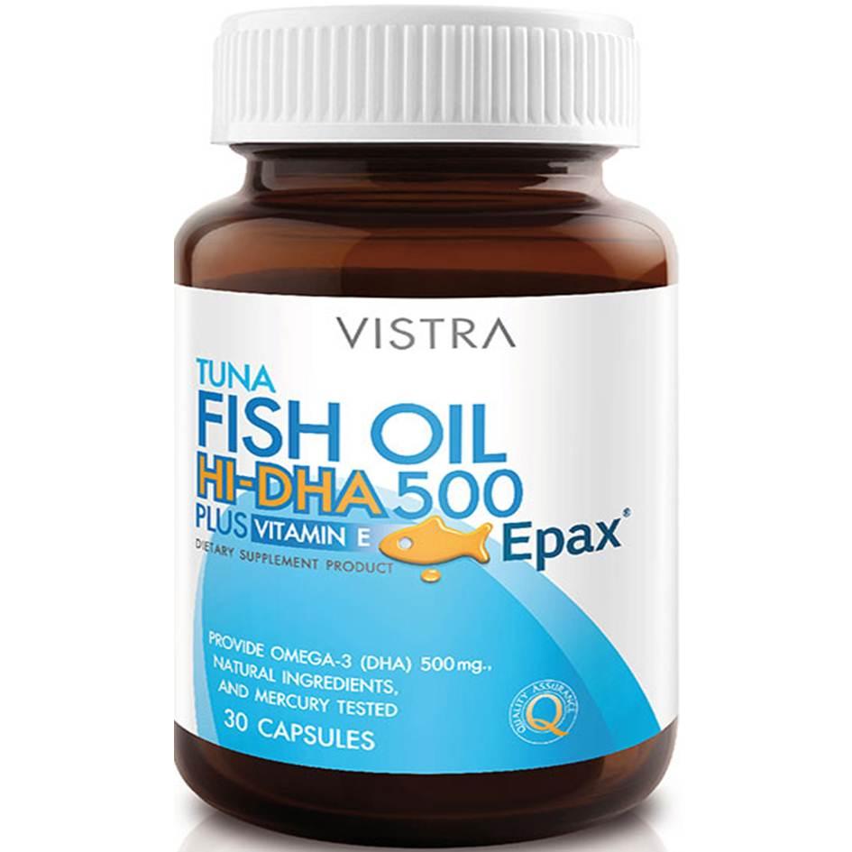 Vistra TUNA FISH OIL Hi DHA 500mg 30 เม็ด วิสทร้า ทูน่า ฟิช ออยล์ ไฮ-ดีเอชเอ 500 มก