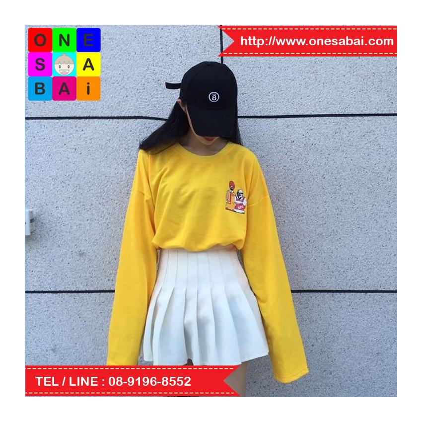เสื้อแฟชั่น คอกลม แขนยาว ลายการ์ตูน สีเหลือง