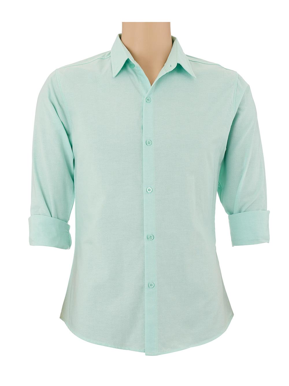 เสื้อเชิ้ตผู้ชายแขนยาว สีเขียวอ่อน