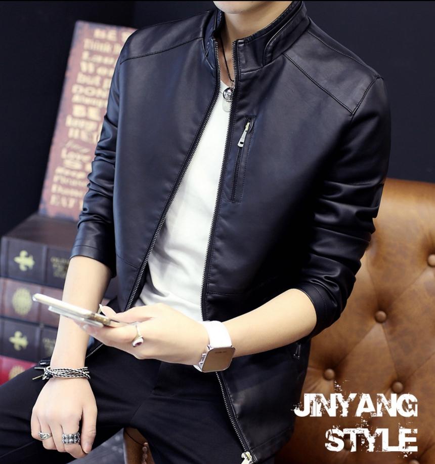 ็High quality men's leather jacket (สีดำ)