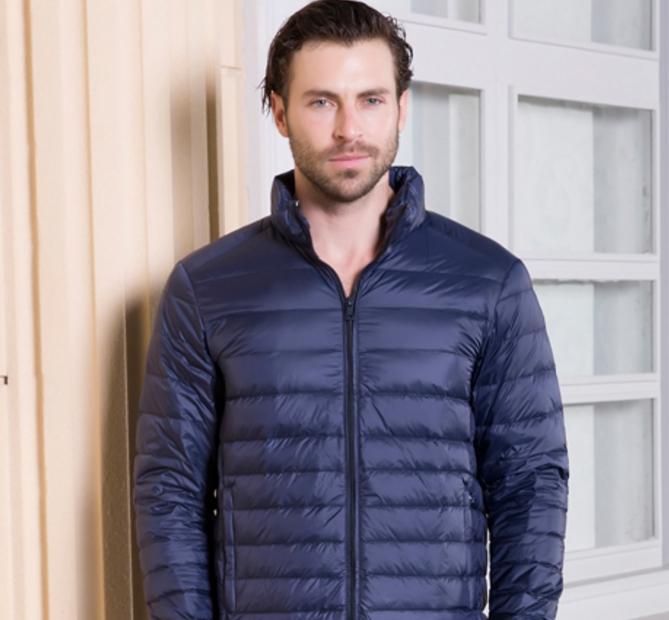 Men's Ultra light slim Down jacket ผสมขนเป็ด Duck down 90% !! (สีกรม)