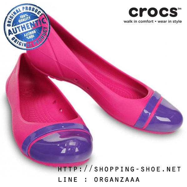 W7 (24 cm.) : Crocs Women's Cap Toe Flat - Candy Pink / Ultraviolet ของแท้ Outlet ไทยและอเมริกา