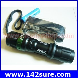 FLZ002 ไฟฉายซูม LED ความสว่างสูง 3W CREE Q5 Adjustable Focus LED Flashlight LED Torchพร้อมถ่านชาร์ท+ ที่ชาร์ทแบต ยี่ห้อ Anex รุ่น