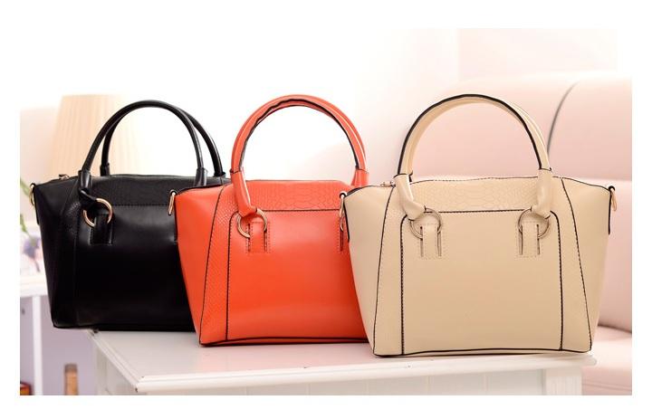 กระเป๋าแฟชั่น ดีไซน์สวยเรียบหรู สีส้ม คลาสสิค แบบยอดนิยม เหมาะกับทุกโอกาส สามารถถือและสะพายได้ทั้งสองแบบ ((โปรโมชั่นส่งฟรี))