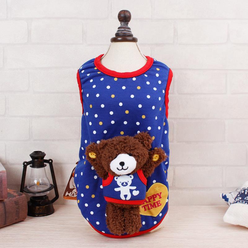 เสื้อจุดน้ำเงินหมีน้อยไซด์ S M