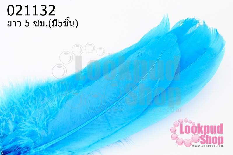 ขนนกมีริบบิ้น สีฟ้า ยาว 5 ซม.(มี5ชิ้น)