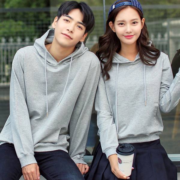 เสื้อกันหนาวคู่รักพร้อมส่ง แฟชั่นคู่รัก ชาย +หญิงเสื้อกันหนาวแบบสวม มีฮูด สีเทา