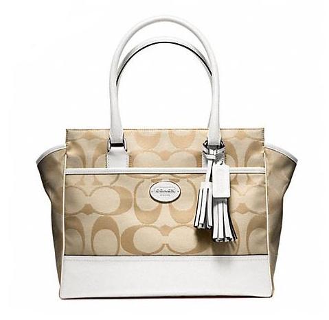 กระเป๋า COACH SIGNATURE MEDIUM CANDACE CARRYALL 24203 น้ำตาลครีม
