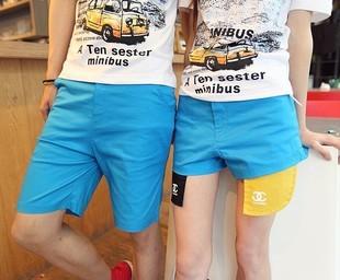 กางเกงคู่รัก ชาย + หญิงกางเกงขาสั้น แบบรูดซิบ ลายสีเรียบ สีฟ้า +พร้อมส่ง+