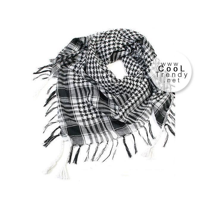 ผ้าพันคอชีมัค Shemagh สีขาวดำ