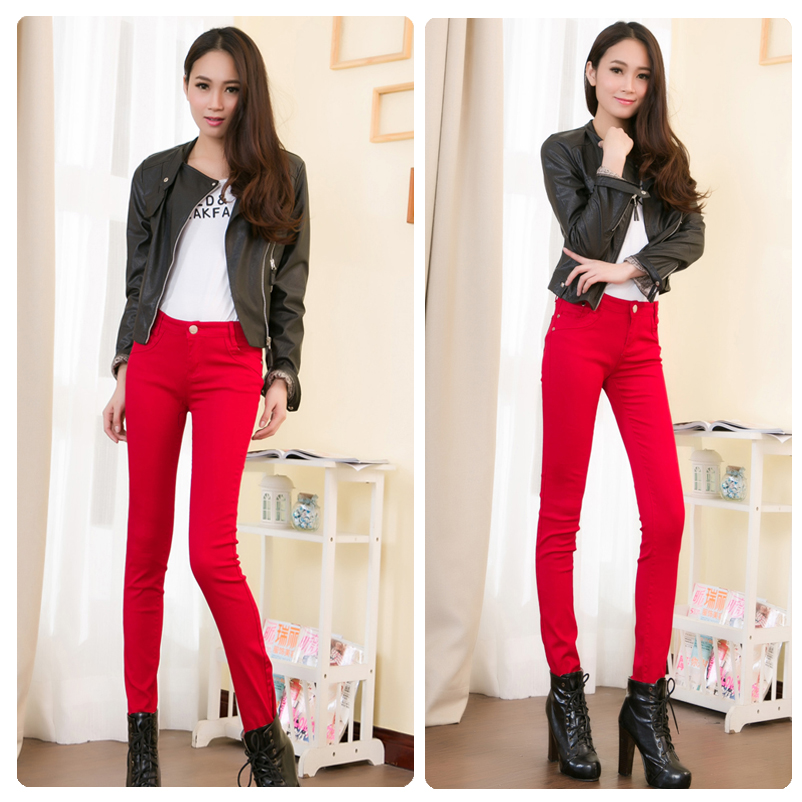กางเกงยีนส์ผ้ายืด สีแดง