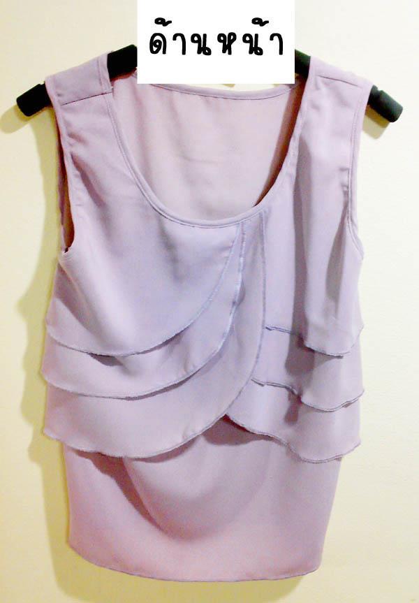 (หมดจ้า) เสื้อซีฟองแขนกุด สีม่วง แต่งระบายอกเก๋ๆ เนื้อผ้าไม่บาง สามารถใส่ไปทำงานได้ค่ะ