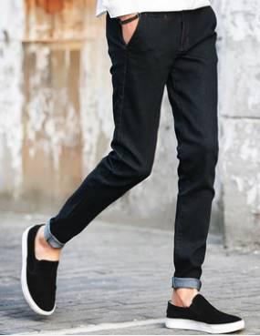 กางเกงยีนส์พับขา แฟชั่น ทรงฟิตเข้ารูป กระเป๋าซ่อน No.27-32 น้ำเงิน ดำ