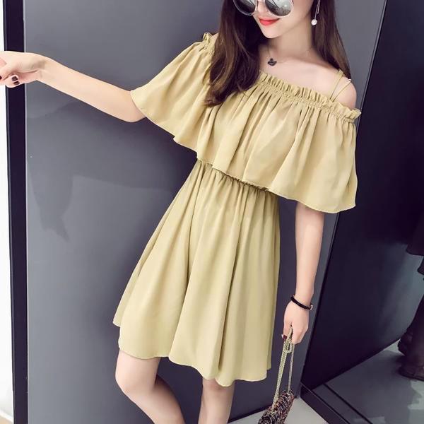 เสื้อผ้าแฟชั่นสไตส์เกาหลี เดรสสายเดี่ยว สีเหลือง แต่งจั้มอก จั้มเอว +พร้อมส่ง+