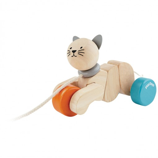 ของเล่นไม้ ของเล่นเด็ก ของเล่นเสริมพัฒนาการ Pull Along Cat (ส่งฟรี)