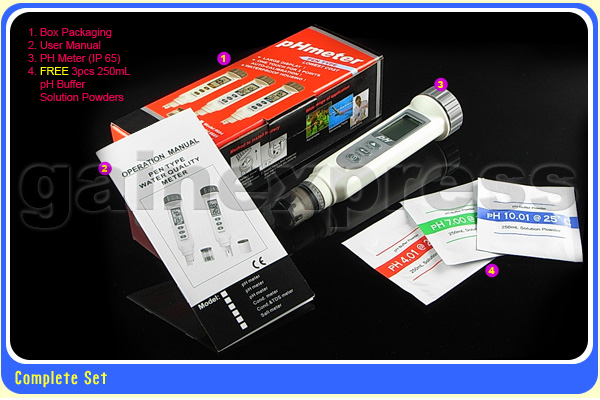 เครื่องวัดค่ากรดด่าง เครื่องวัดกรดด่าง มิเตอร์วัดค่ากรดด่าง Waterproof pH meter Tester with Temperature + Auto Cal.