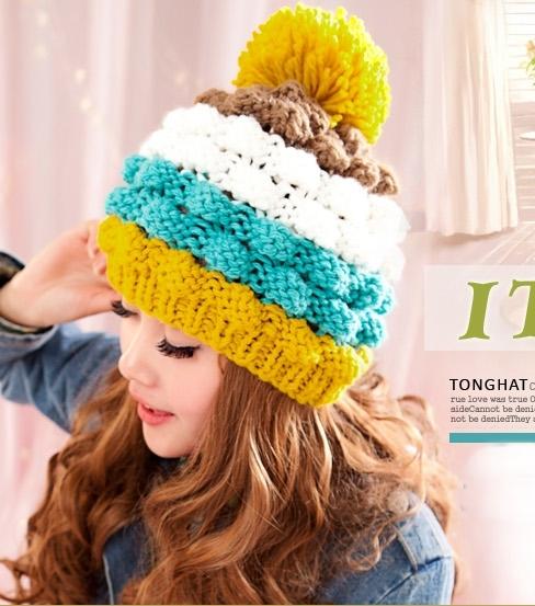 หมวกไหมพรมแฟชั่นเกาหลีพร้อมส่ง ทรงดีไซต์เก๋ แต่งจุกสีเหลือง หมวกลายขนมชั้นสีเหลืองน้ำเงินขาวกาแฟ