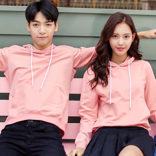 เสื้อกันหนาวคู่รักพร้อมส่ง แฟชั่นคู่รัก ชาย +หญิงเสื้อกันหนาวแบบสวม มีฮูด สีชมพู