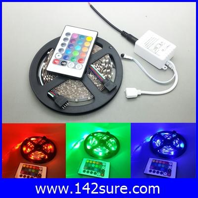 LES036 ไฟLED RGB 300LEDs Flexible Strip Ribbon 5M 3528 12V 60LED/M พร้อมชุดรีโมทควบคุม เปลี่ยนสีได้ (ไม่กันน้ำ)