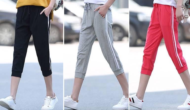 หลากสี!!กางเกงsweat pantsผู้หญิงขาสั้น ขาจั๊ม เอวรูด ออกกำลังกาย ฟิตเนส แถบขาวคู่ สี ดำ เทา ชมพู No.23-34