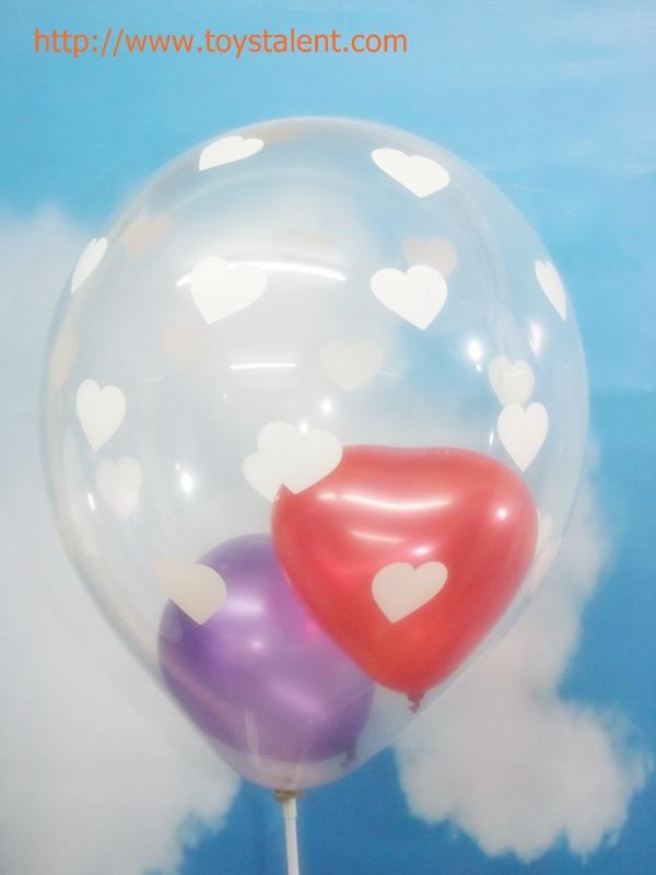"""ลูกโป่งกลมเนื้อคริสตัลใส พิมพ์ลายหัวใจรอบด้าน ไซส์ 12 นิ้ว แพ็คละ 10 ใบ ไม่รวมลูกโป่งด้านใน (Round CT Balloons 12"""" - Printing Heart latex balloons)"""
