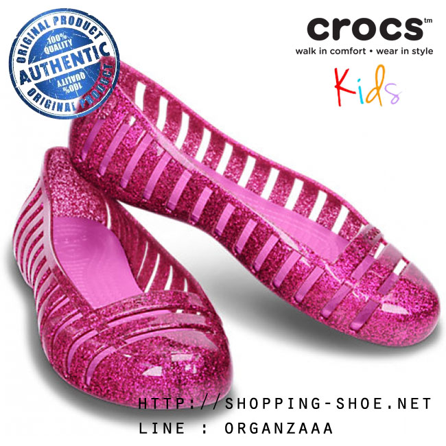 J6 (25 cm.) : Crocs Adrina II Glitter Flat Girls - Fuchsia / Party Pink ของแท้ Outlet ไทยและอเมริกา
