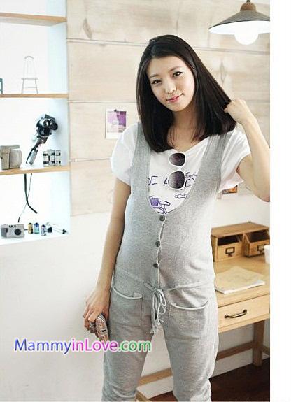 ชุดเอี๊ยมคลุมท้องผ้าคอตตอน แบบกระดุมหน้า : สีเทา รหัส BM010