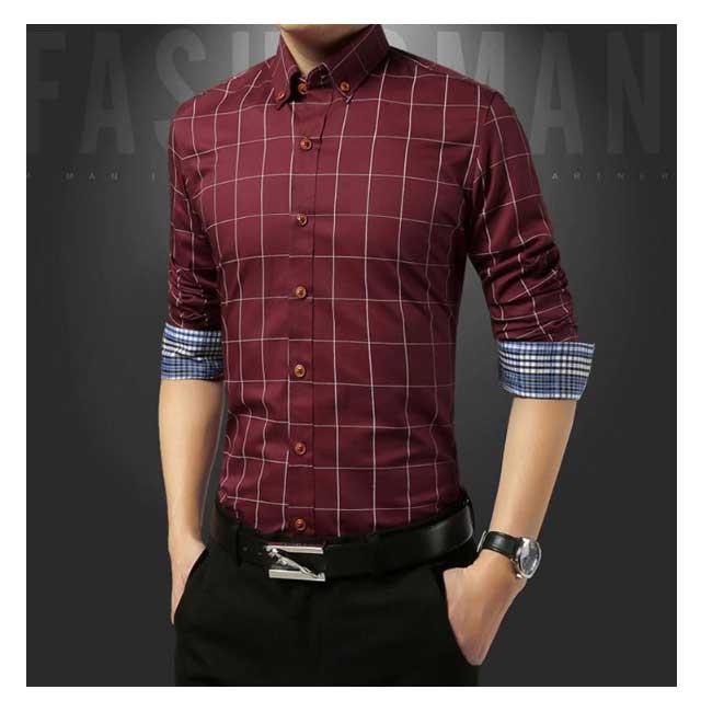 เสื้อเชิ้ตแขนยาวสีไวน์แดง