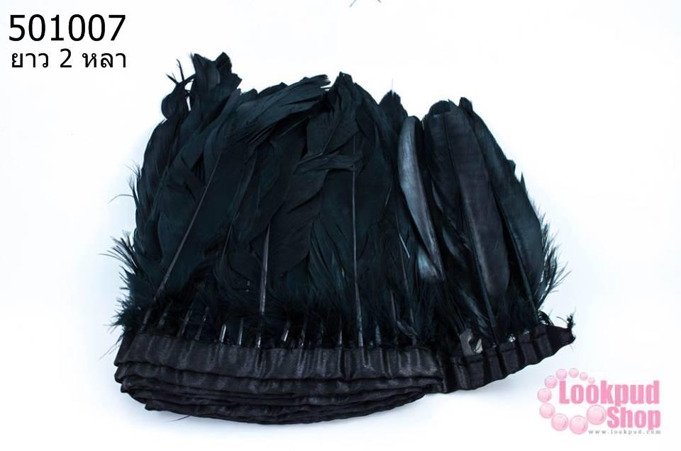 ขนนกมีริบบิ้น สีดำ ยาว 2 หลา (1ห่อ/220ก้าน)