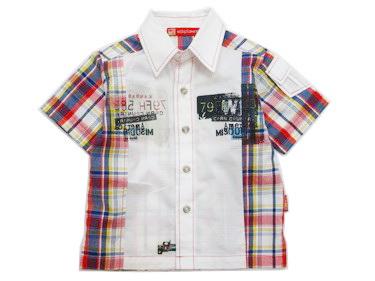 K493SA Kidsplanet เสื้อผ้าเด็กชาย เชิ้ตแขนสั้นสีขาว ด้านข้างและด้านหลังเป็นลายตาราง โทนน้ำเงินแดง สกรีนลายตรงอก กระเป๋าเก๋ ๆ ที่แขน เหลือแต่ Size 12M