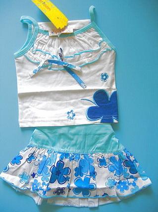 BON055 Kartoon เสื้อยืดสายเดี่ยวเด็กผู้หญิงสีขาว ปักแปะดอกไม้ + กระโปรงพิมพ์ลาย สีฟ้า เหลือ Size 3 ขวบ