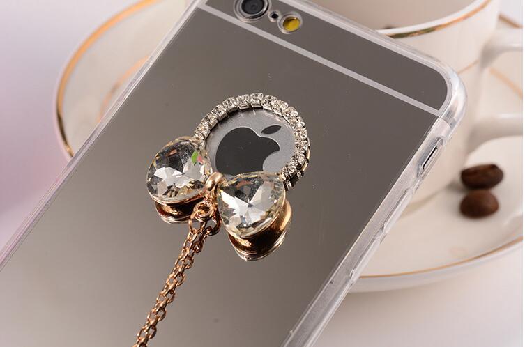 เคสนิ่มกระจกเงาโบว์เพชร ไอโฟน 4/4s