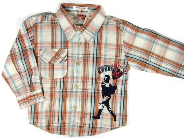 SH004 เสื้อเชิ้ตเด็กแขนยาว ผ้าคอตตอน ลายตารางสีแดงอมส้ม กระเป๋าตรงอก สกรีน International Sport Winner Cup Size 8/10/12
