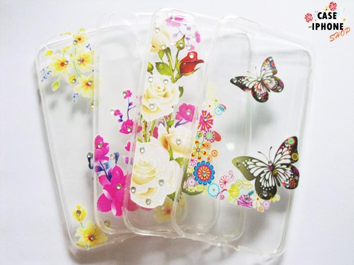 เคส tpu ลายดอกไม้แต่งเพชร ไอโฟน 6/6s 4.7 นิ้ว