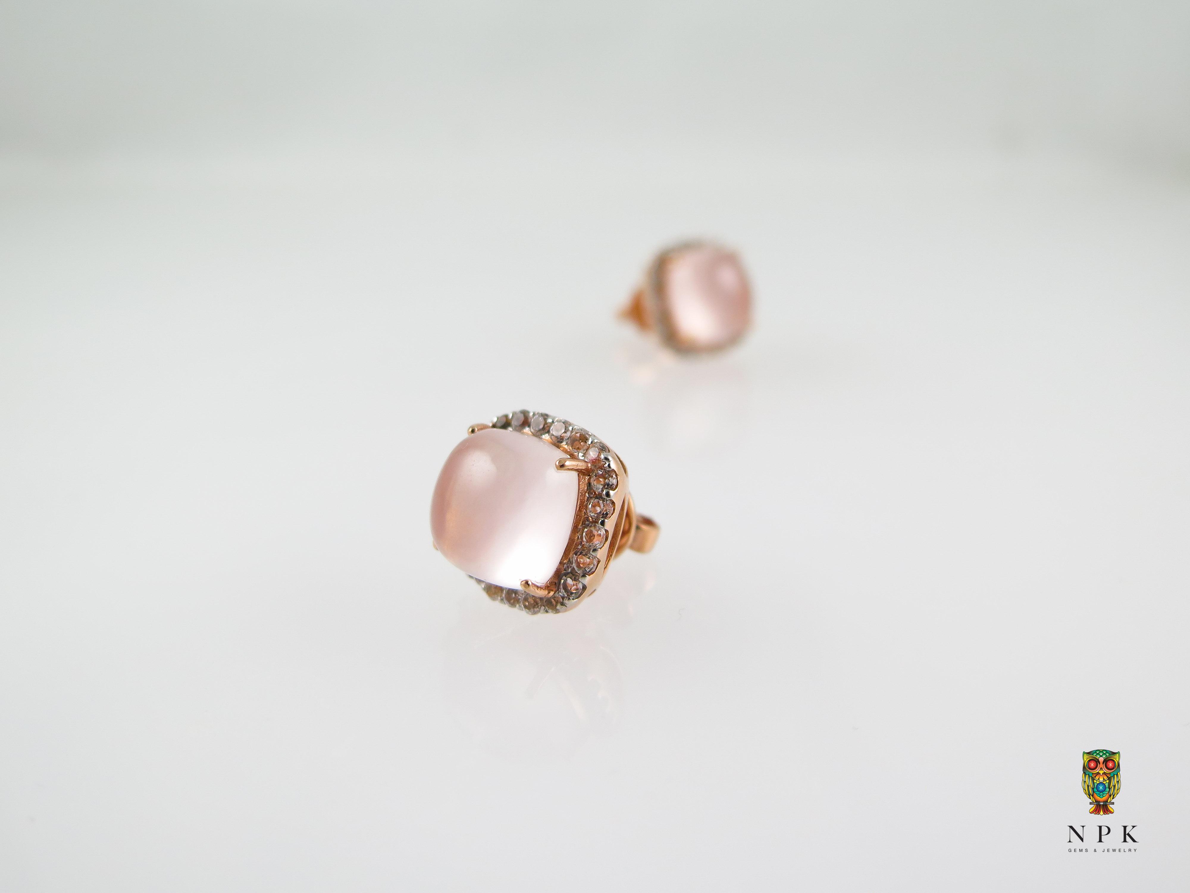 ต่างหูโรสควอตซ์ (Rosequartz with white topaz earring. )