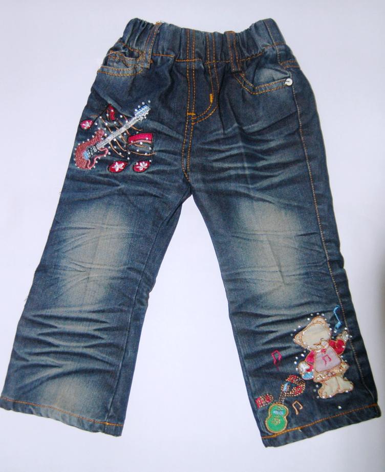 CNJ021 กางเกงยีนส์ เด็กหญิง ขายาว ผ้าฟอกอัดยับ ผ้านิ่มใส่สบาย แต่งลายเก๋ ๆ ปักเลื่อม กระเป๋าหลังสองข้าง Size 15/18